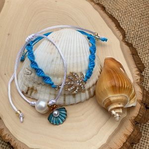 Coconut Tree  & Seashell Pearl  braided Bracelet